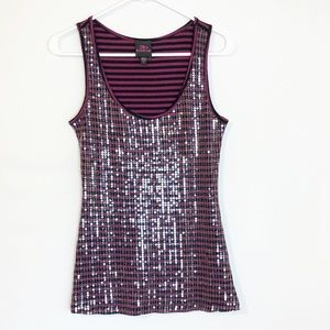 BeBe Striped Sequined Tank Top Size Small